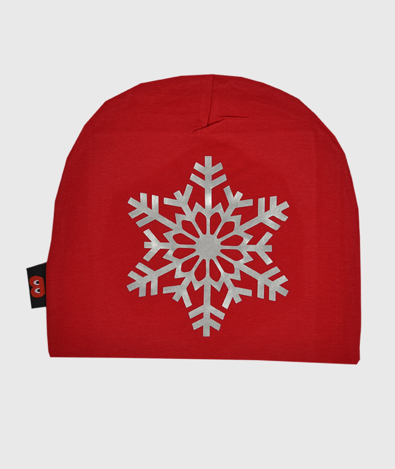 Baggy Hat Red Snowflake Silver